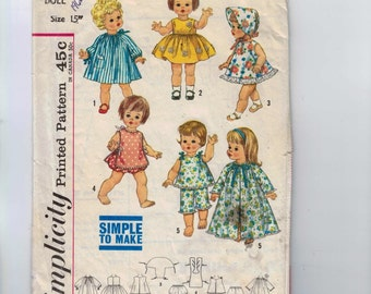 1960s Vintage Sewing Pattern Simplicity 4839 15 Inch Doll Wardrobe Toddler Baby Sundress Nightgown Pajamas Bonnet 60s