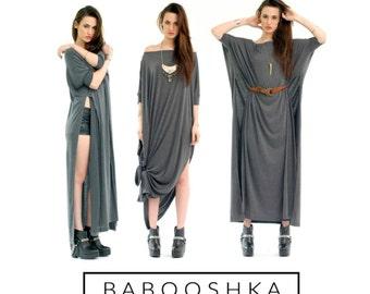 BABOOSHKA Vent Tee Maxi Dress / Modern Oversized Long Tunic Short Sleeve Convertible Off Shoulder Wide Scoop Neck Black White Charcoal Gray