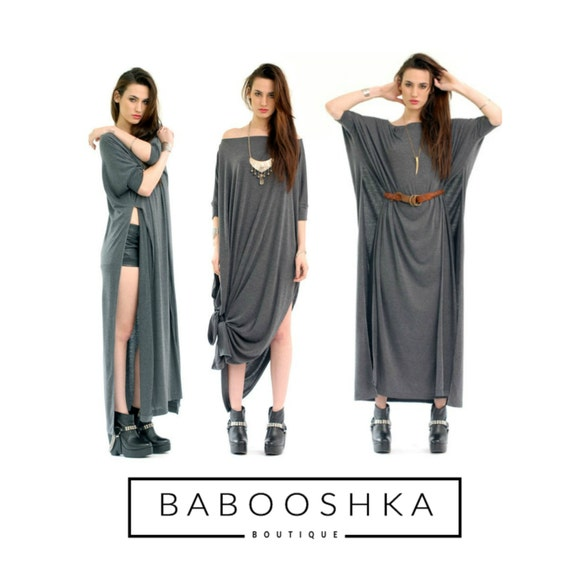 BABOOSHKA Vent Tee Maxi Dress / Modern Oversized Long Tunic Short Sleeve Convertible Off Shoulder Wide Scoop Neck Black White Charcoal Gray