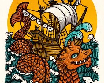 Sea Serpent and Ship