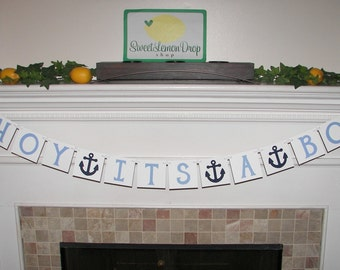 nautical baby shower decorations AHOY ITS A BOY Banner - Shower Decoration - Anchor - Photo Prop