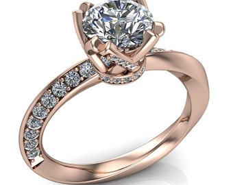 Mobius Strip Engagement Ring with 1ct Diamond in Fancy Setting