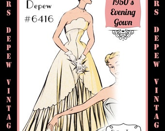 Vintage Sewing Pattern 1950's Strapless Evening Gown in Any Size - PLUS Size Included - Depew 6416-INSTANT DOWNLOAD-