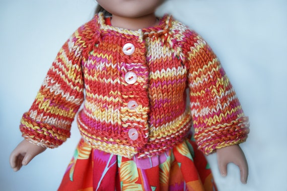 Dress and Sweater Set for American Girl and other 18-inch Dolls - Orange/Yellow
