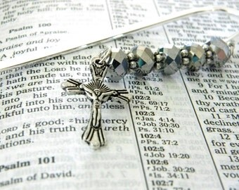 Crucifix Cross Bookmark with Silver Glass Beads Silver Plated Steel Bookmark