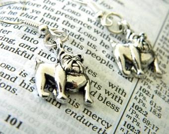 Bulldog Earrings Silver Color Dangle Earrings Dog Earrings