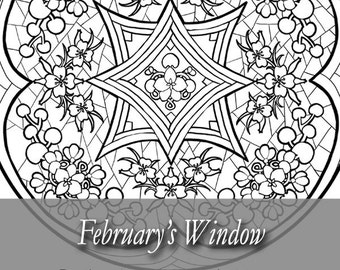 printable coloring book page for adults february stained glass mandala with violets in art nouveau - Coloring Book Angels
