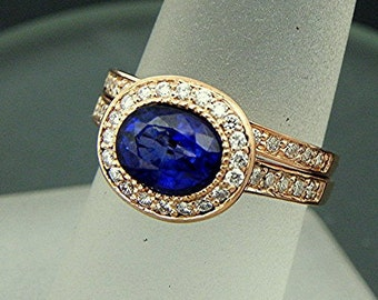 AAA Blue Sapphire 7.4x5.7mm 1.53 Carats Oval 14K Rose gold Halo bridal set with .35cts of diamonds. 788 MMM