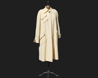 Vintage Cream Wool Oversized Bat Wing Sleeve Swing Coat