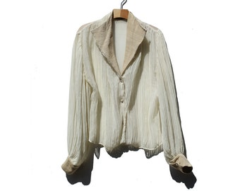 Vintage Crinkle Silk Chiffon Blouse / Ivory chiffon Bloom Sleeve Blouse