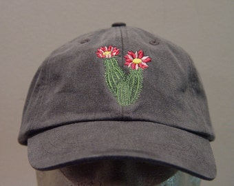 FLOWERING CACTUS Hat - One Embroidered Wildlife Cap - Price Embroidery Apparel - 24 Color Caps Available