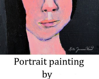 Acrylic Girl Portrait Painting. Original Handmade Art. 6x6 Small Painting. Portrait Wall Hanging. Home Wall Art Decor