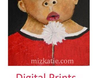 Boy Portrait Painting Print. Little Dude Blowing on Dandelion Digital Print. Summertime Wall Art Prints