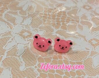 Pink Bear Stud Earrings