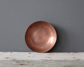 Large Solid Hammered Copper Round Bowl - Great for a Coffee Table
