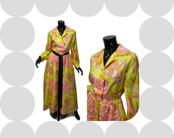 """Vintage Hostess Gown - Quilted Maxi - 60s-70s - Sz Small 34"""" Bust - Yellow Pink Floral  Best's Apparel - Party - Gracious Living"""