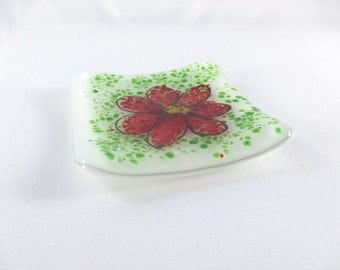 Small Square 3 Inch Fused Glass Ring Dish Red Flower