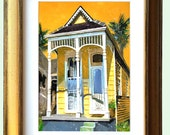 "New Orleans Antique Gold Framed Shotgun House Art ""Nola House"" 12.25 x 10.25"" and 16.25x13.25"" Matted Print Signed and Numbered"