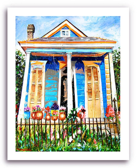 "New Orleans French Quarter Shotgun House Art ""Bloom Street"" Print Signed and Numbered"