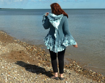 Blue Chalcedony Size 10 Wool Free Butt Ruffle frankensweater Upcycled recycled gypsy coat sweater 100