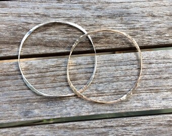 One Faceted Bangle, Sterling silver Bangle, Gold Filled Bangle, Bangles, Stackable Bangles, Bangles, Hammered bangle, Hammered Bangle