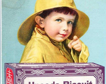Vintage 1930 Original Advertising Cardboard Sign, Poster, Uneeda Biscuit with Boy in Yellow Raincoat and Box of Biscuits, Wall Decor