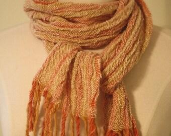 Hand Spun Alpaca, Merino, and Angora Scarf Natural Dyed and Handwoven