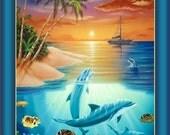 Dolphins Fish Sealife Quilting Treasures Fabric Panel