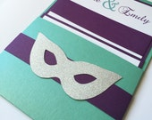 Purim, Mask, Pocket Bat mitzvah Invitation, Modern bat mitzvah, masquerade Wedding invitation, Teal, turquoise, Purple, aqua invite -Sample