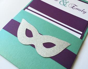 Purple pocket Bat mitzvah Invitation, unique bat mitzvah invite, fun aqua invitations, masquerade Wedding invitation, turquoise invite,