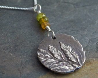 Fern Necklace in Sterling Silver with Tourmaline Gemstones
