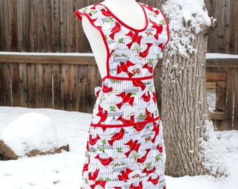 Holiday Cardinal Birds 1940s Style Full Apron