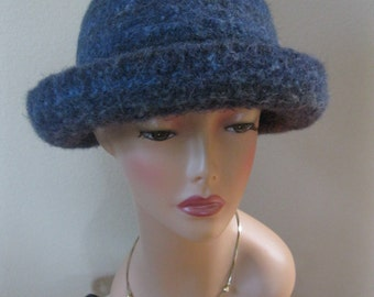 Blue Felted Wool Bowler or Derby Hat