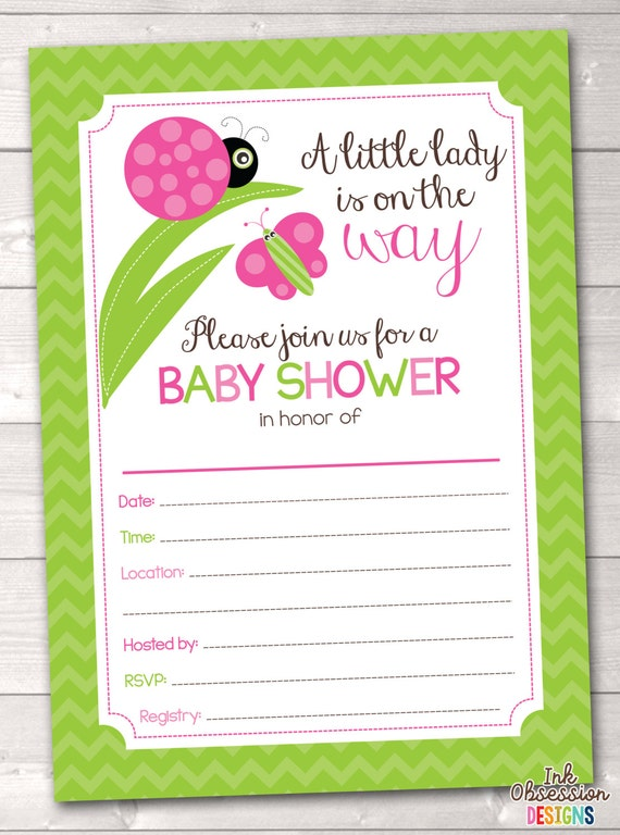 fill in baby shower invitations little ladybug chevron stripes