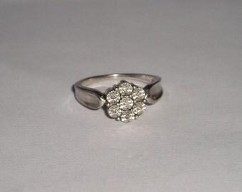 Vintage Sterling NAJ Diamond Accent Flower Ring