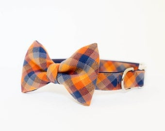 Fall Dog Bow Tie Collar - Pumpkin Patch Autumn Check Plaid