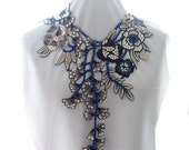 Lace Applique Statement Necklace, Black and Blue Floral Lace Necklace, Rhinestone and Lace Fiber Necklace, Embroidered Floral Mega Necklace