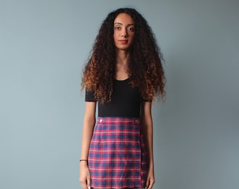 Plaid Skort / Red White and Blue Plaid Skirt / 1990s / small