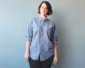 Chambray Button Down Top / 1980s Denim Pepsi Shirt / XL