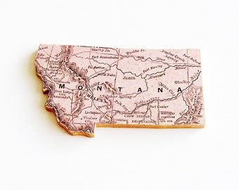1907 Montana Brooch - Pin / Unique Wearable History Gift Idea / Upcycled Antique Wood Jewelry / Timeless Gift Under 50
