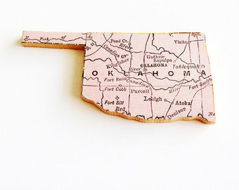 1907 Oklahoma Brooch - Pin / Unique Wearable History Gift Idea / Upcycled Antique Wood Jewelry / Timeless Gift Under 50