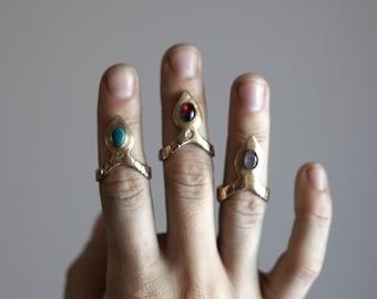 RAJ / Bronze Turquoise Tiara Ring, Gold Egyptian Ring, Modern Bohemian Stone Ring, Boho Turquoise Gold Ring, Tribal Stone Ring, Turquoise