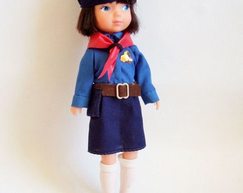 Cute Girl Guide Doll - 1980s Vintage Doll in British Girl Guide Uniform