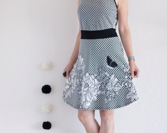 Black and White Floral Knit Dress with butterfly applique