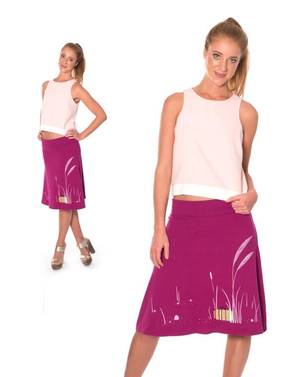 pull on skirt a line knee length skirt raspberry