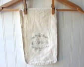 Vintage 5 pound feedsack flour sack sugar sack with applied antique Paris graphic French Farmhouse cottage