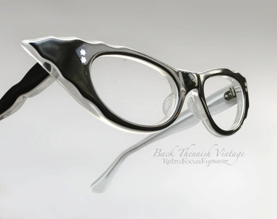 RESERVED for Nelda50s Pinup Cat Eye Eyeglass Frames Black