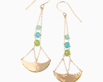 Tola Chandelier Earrings, Handmade with recycled 14k gold, Peruvian Opal, Peridot, Apetite, art deco jewelry