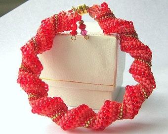 red beadweaving bracelet