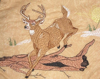Deer Potholders, machine embroidered